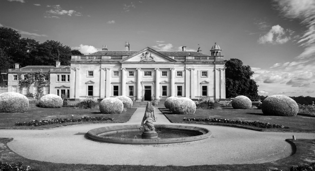 front of Wortley Hall and garden in black and white