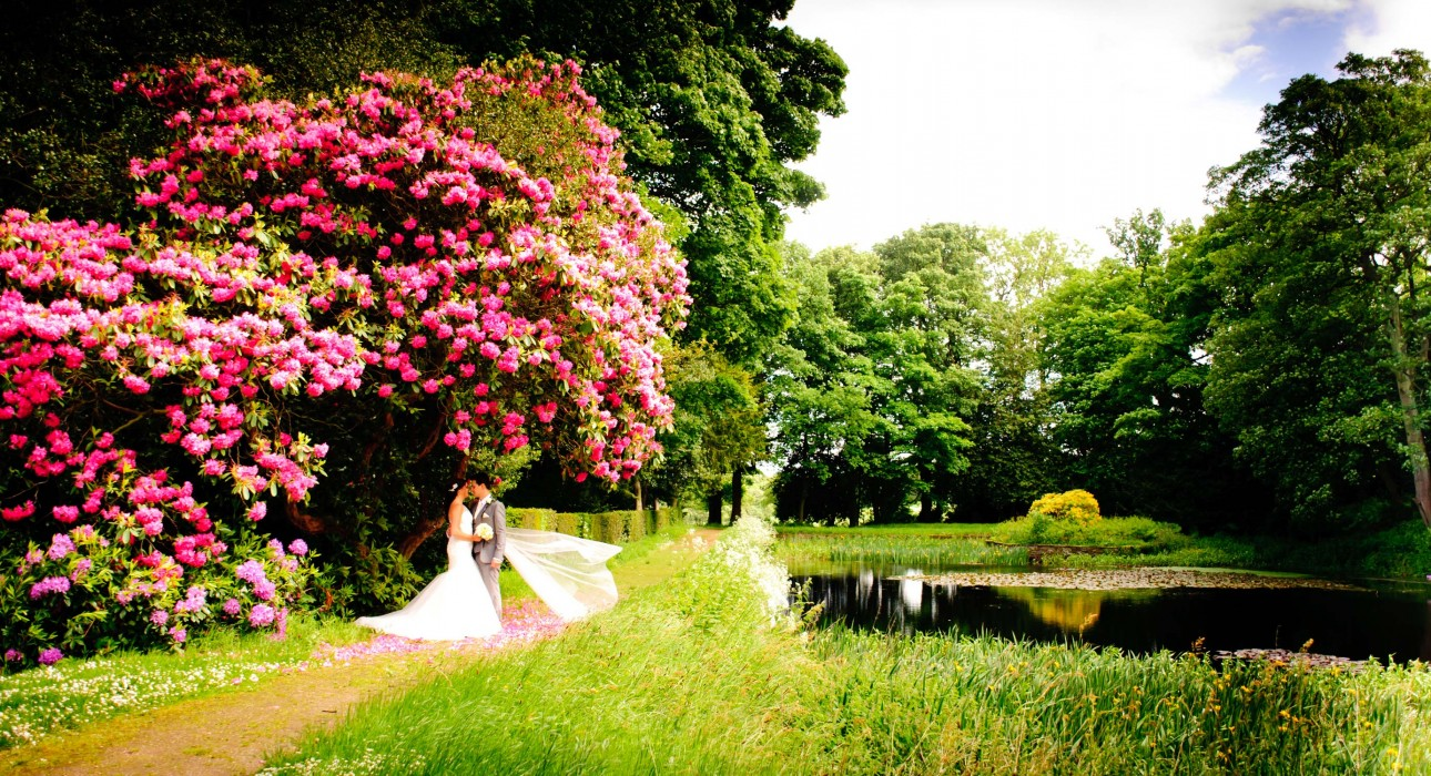 Wedding photos took next to a picturesque lake in the Wortley Hall grounds