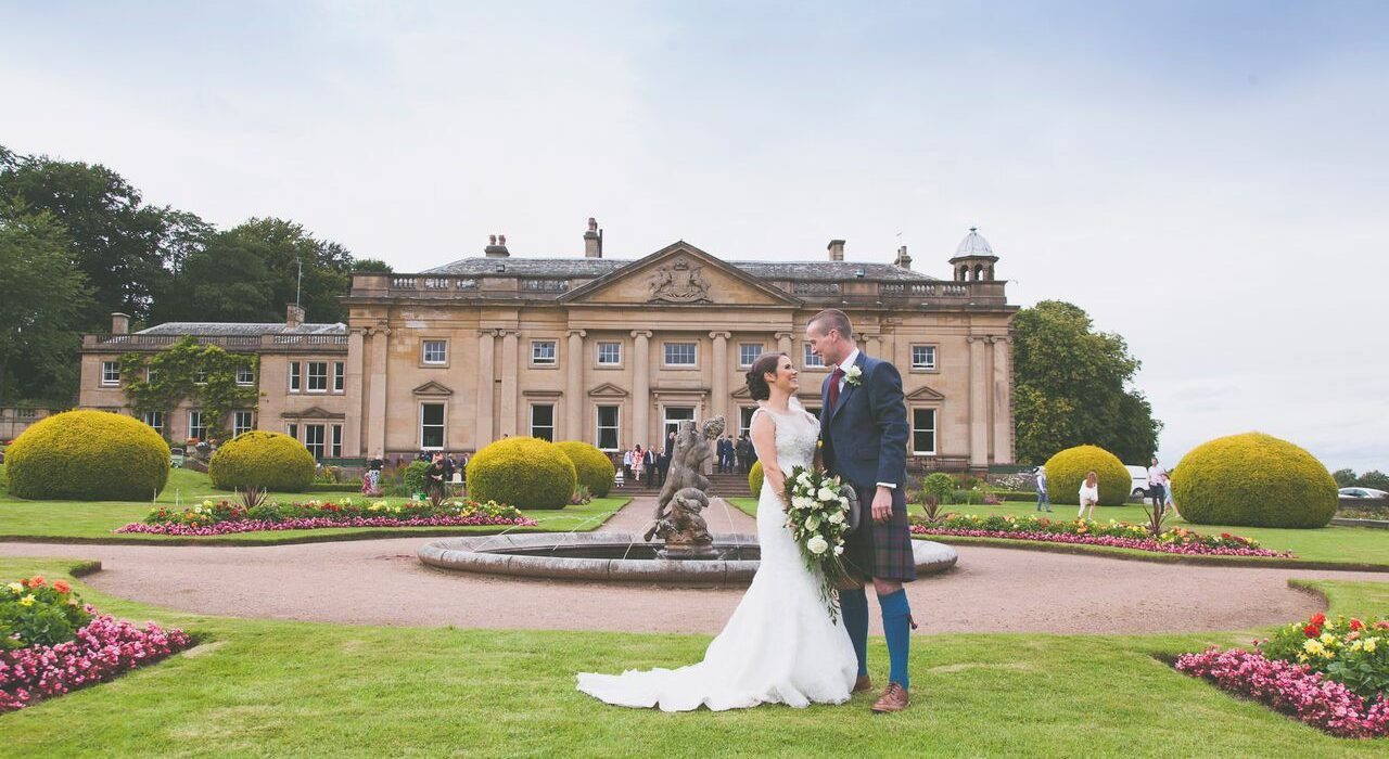 Happy Couple Celebrating Their Wedding Day at Wortley Hall