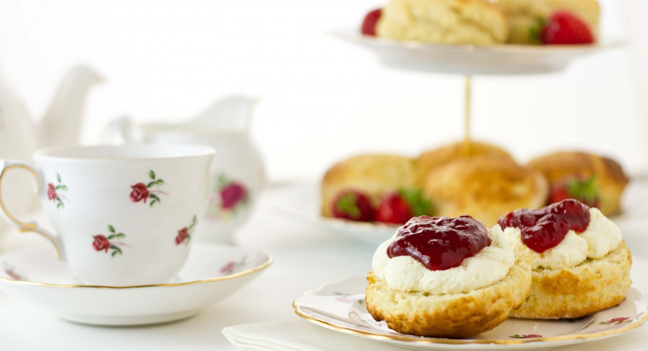 Afternoon tea scones with cream and jam