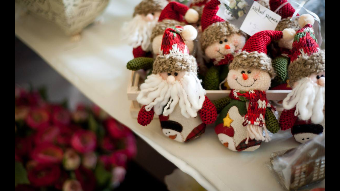 Christmas decorations available to purchase at the christmas market.